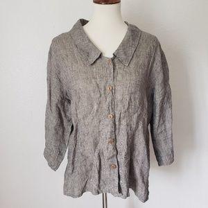 Flax linen button down gray beige shirt M